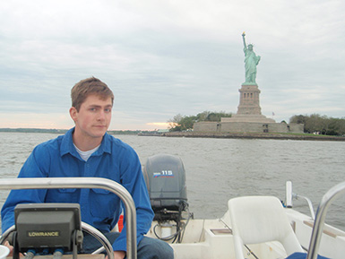 Fishing by Statue of Liberty in New York