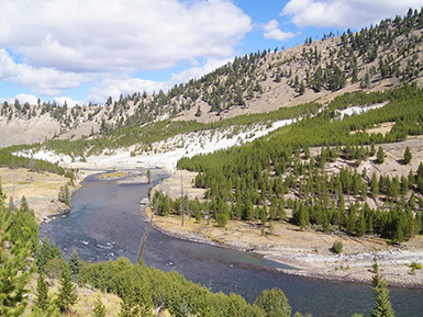 stream flowing through the mountains in Wyoming