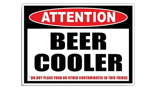 attention beer cooler do not place food or other contaminates in this fridge fishing sticker