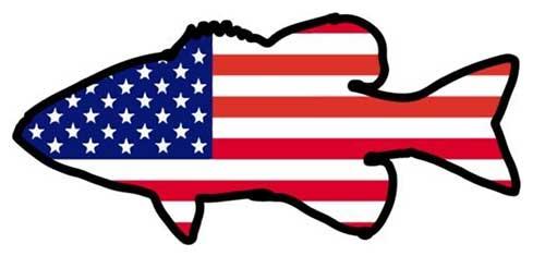 bass american flag fishing sticker