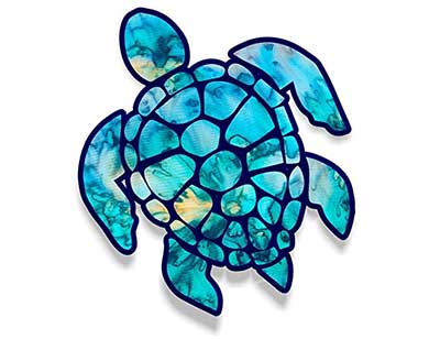 blue turtle sticker for car truck or boat