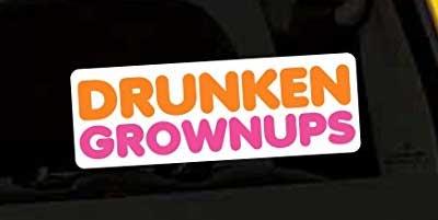 drunken grownups decal sticker for fishing cooler