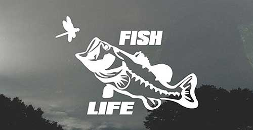 fish life bass eating a dragonfly decal sticker for car or truck