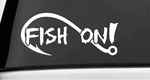 fish on fishing decal sticker with a hook outline
