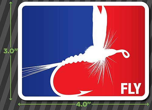 fly fishing bumper sticker with red white and blue colors