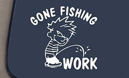 gone fishing pee on work funny car or truck fishing decal sticker