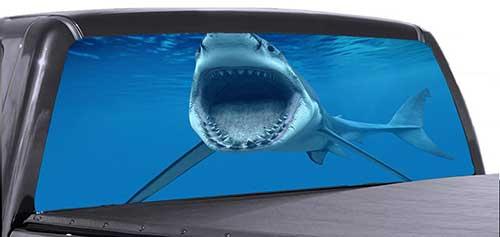 great white shark rear window truck fishing graphic view thru vinyl