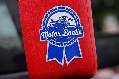 blue ribbon beer motor boating campion sticker for cooler