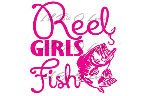 reel girls fish pink fishing sticker with bass and hook