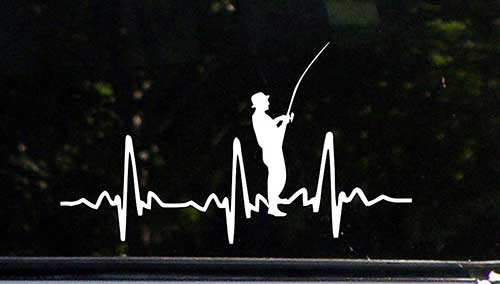 sweet tea fisherman decal with fishing outline and heartbeat
