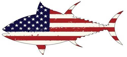 tuna american flag fishing decal for truck