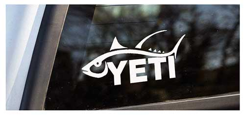 yeti cooler sticker decal white with tuna fish outline