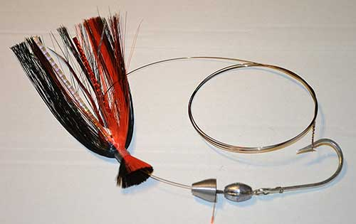 blue water candy ballyhoo wire rig for wahoo bait