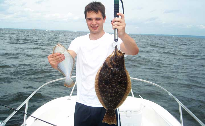 mike catches a big fluke and flounder