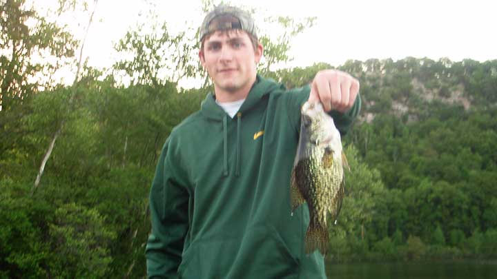 cody catching crappie in the evening