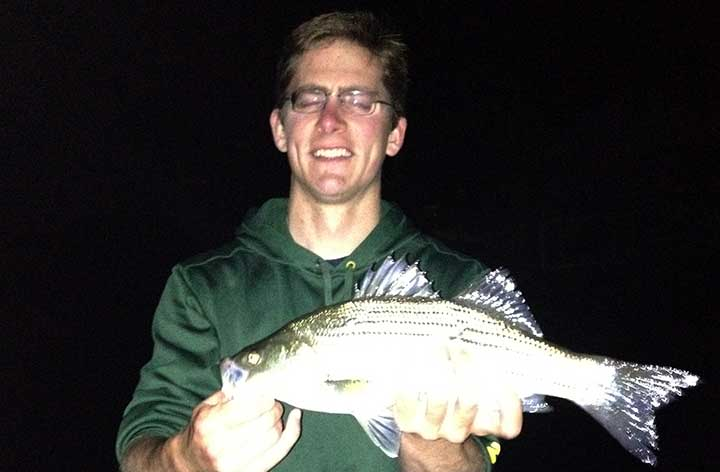 cody with a fresh water hybrid striped bass