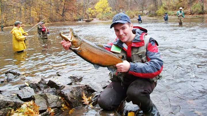 justin with a huge brown trout