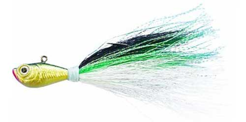 spro bucktail jig green shad hybrid striped bass jig