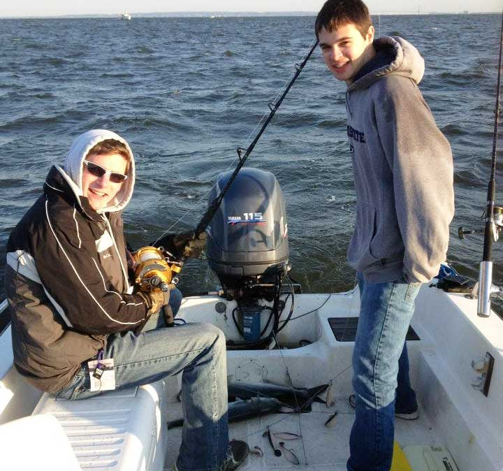 captain cody and mike fishing for bluefish