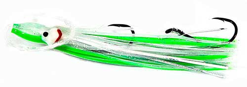 green hoochie lure for salmon trolling