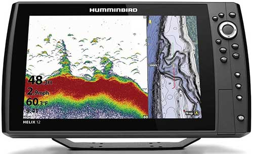 humminbird helix 12 with side scan down imaging and sonar transducer