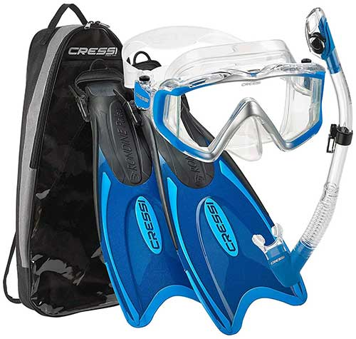 cressi panoramic view mask fins and snorkel gear package