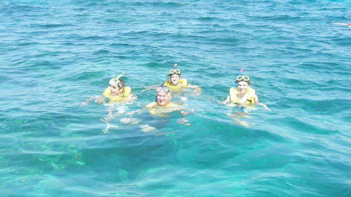 snorkling in clear water in the florida keys