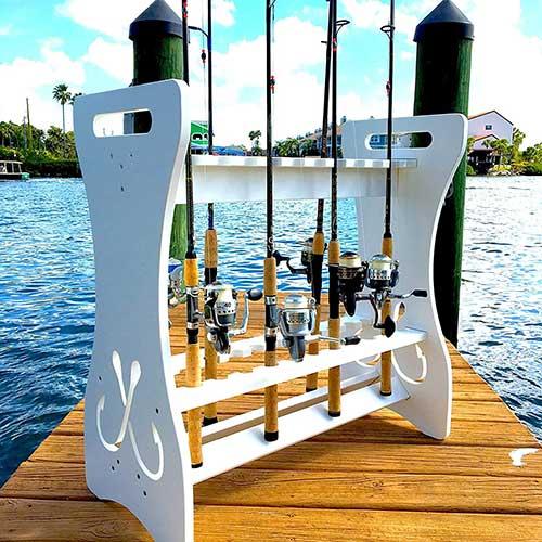 indoor outdoor rod holder storage rack stand