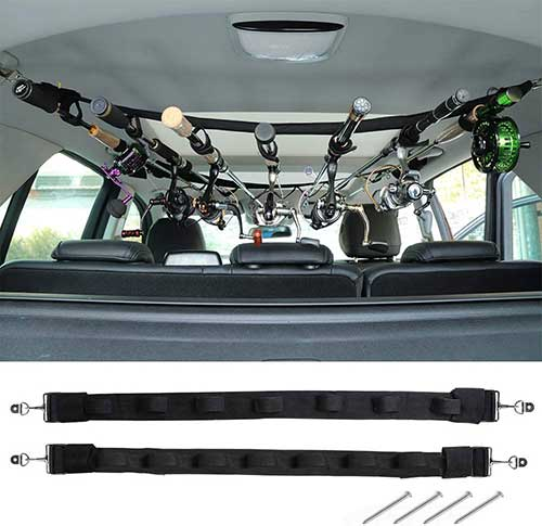 vehicle fishing rod holder rack belt