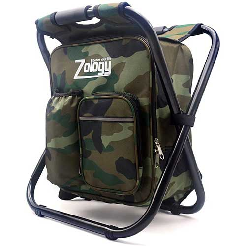 Folding Chair Fishing Backpack with Cooler