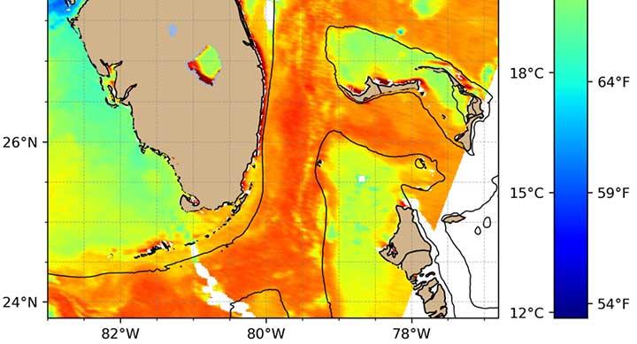 Rutgers sea surface temperature satellite image