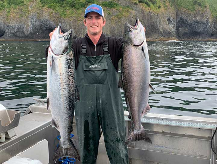 two large king salmon